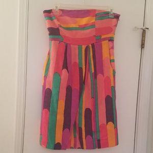 Tibi Colorful Multicolor Silk Linen Dress Sz. 6